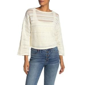 CENY Pointelle Knit Cropped Sweater Ivory White
